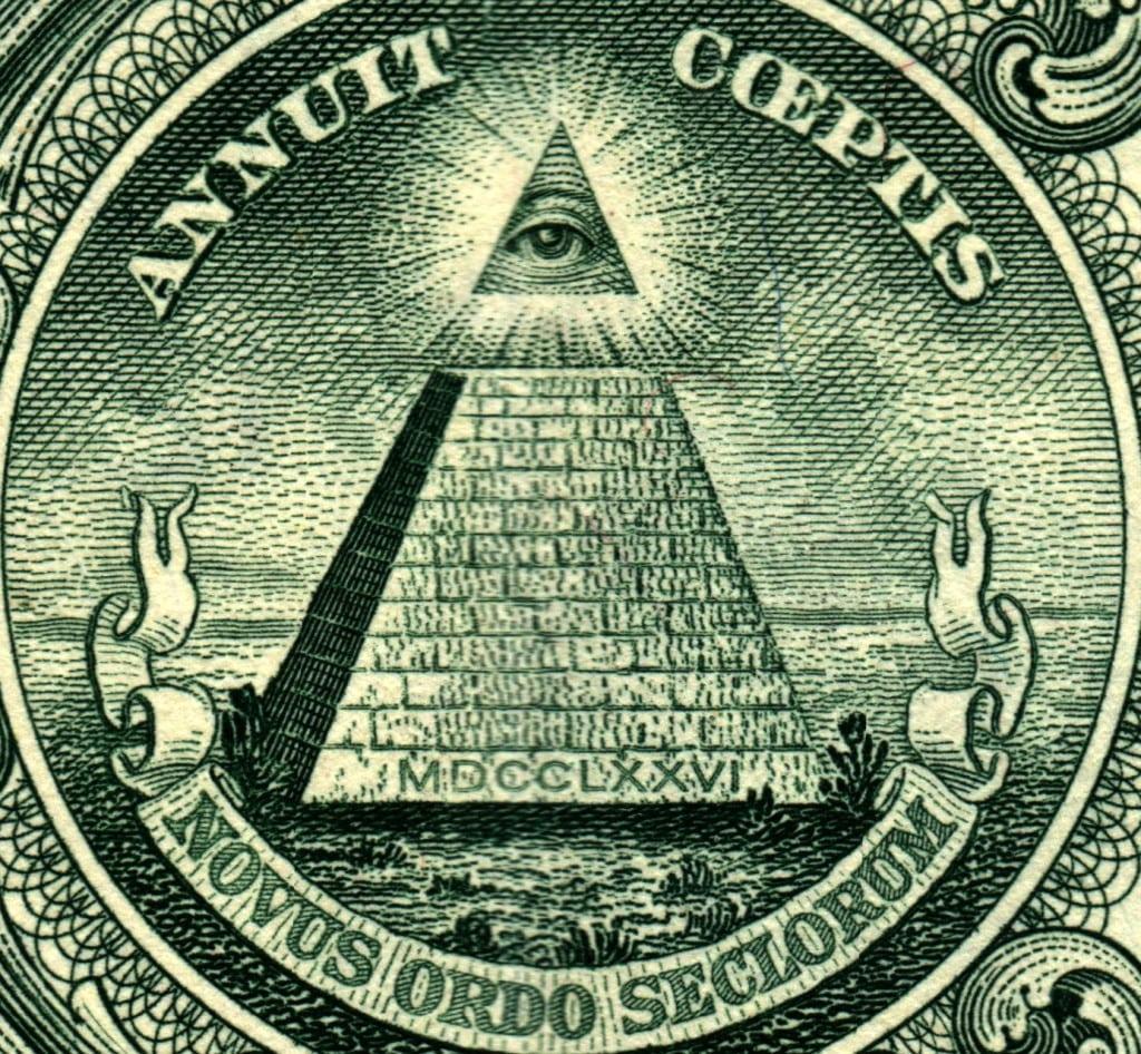 Изображение масонского знака на долларовой купюре