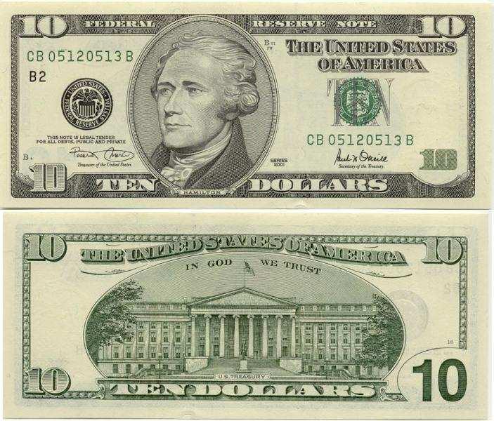 Дизайн 10-долларовой купюры