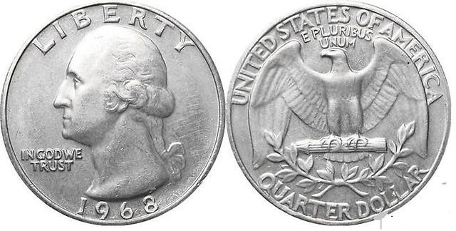 На монете 25 центов изображен Джордж Вашингтон