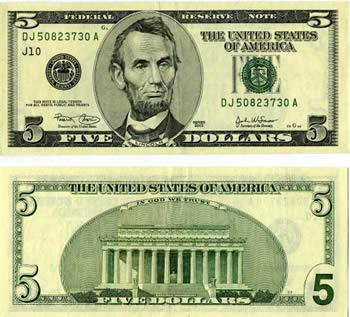 Дизайн 5-долларовая купюра