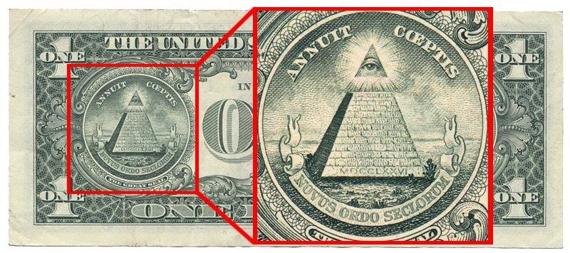 Изображение пирамиды на долларовой купюре