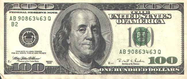 Изображение на 100-долларовой купюре