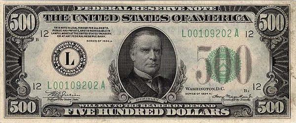 Изображение на долларовой купюре номиналом 500