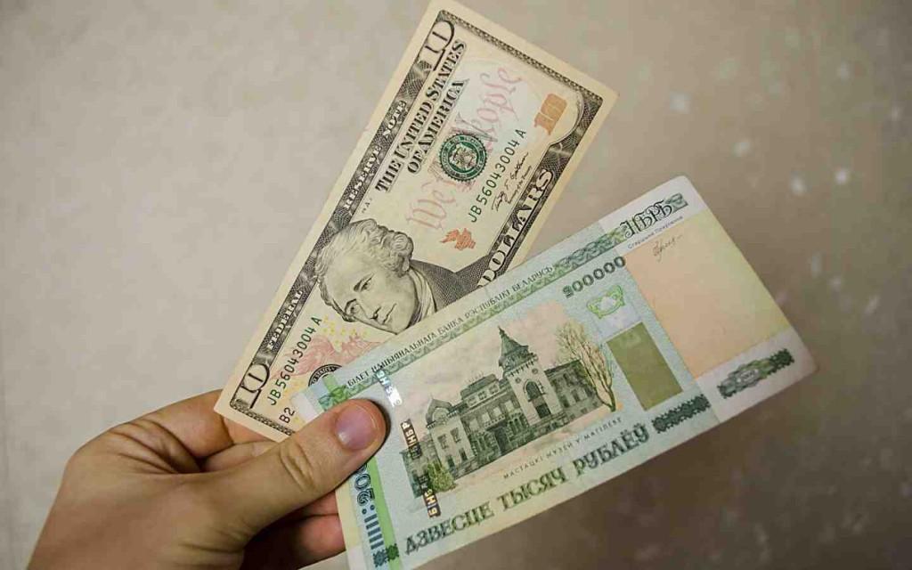 Отношение белорусского рубля к доллару